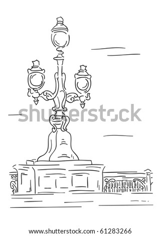 Vector lantern - stylised engraving - stock vector