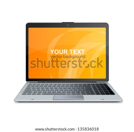 Vector laptop isolated and text - stock vector