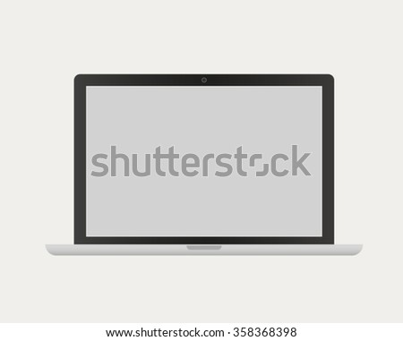 Vector Laptop isolated on beige background