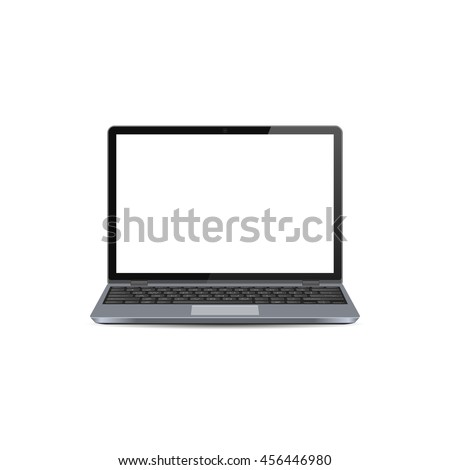 Vector Laptop with blank white screen, notebook mock up - stock vector