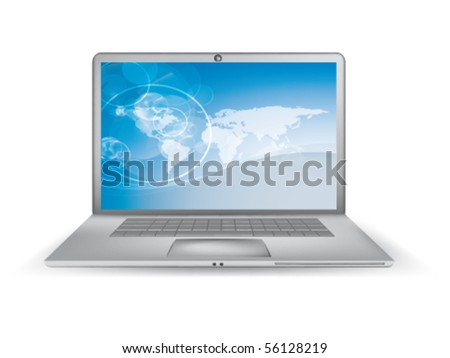 vector laptop with map