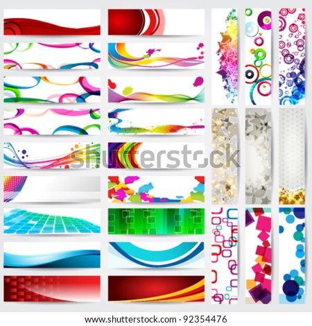 Vector large collection of elegant, modern, detaliled vertical and horizontal web banners. Set of 27 banners. - stock vector