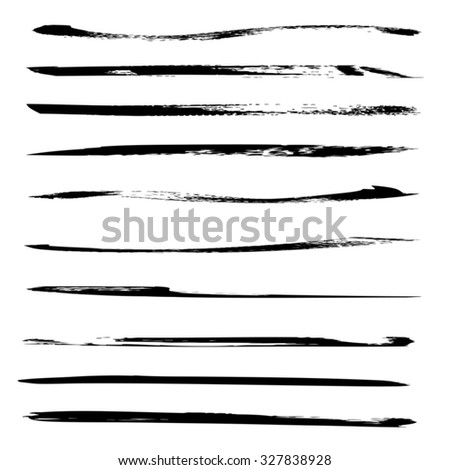 Vector large collection or set of artistic black paint hand made creative brush strokes isolated on white background, metaphor to art, grunge or grungy, graffiti, sketch, education or abstract design
