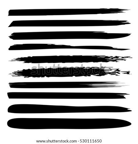 Vector large collection or set of artistic black paint hand made creative brush strokes isolated on white background, metaphor to art, grunge or grungy, sketch, education or abstract design