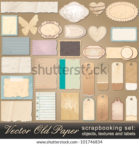 Vector large scrapbooking set of old, vintage paper objects, textures and labels illustrations - stock vector
