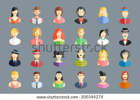Vector large set of avatars. Men and women, young people and girls icons - stock vector