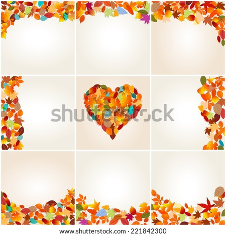 Vector large set of colorful, hand drawn style autumn leaves background illustration - stock vector