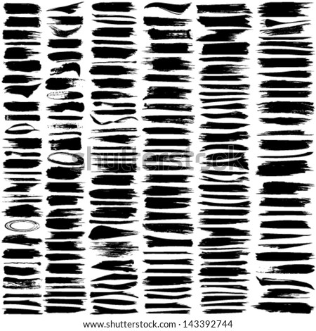 Vector large set of 180 different grunge brush strokes. - stock vector