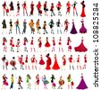 Vector large set of elegant shopping and fashion girls - stock
