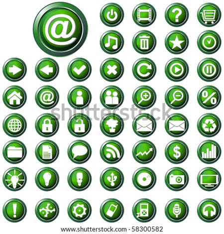 Vector large set of glossy green web buttons - stock vector