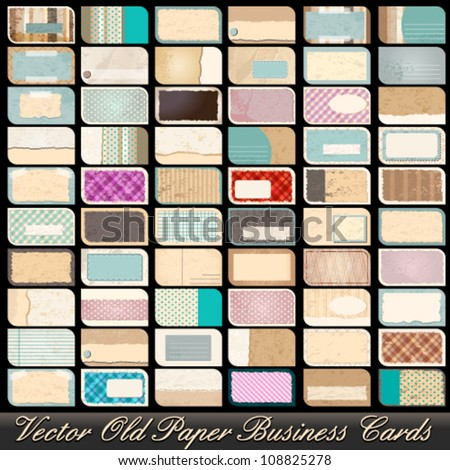 Vector large set of 60 highly detailed, old, vintage business card illustrations - stock vector