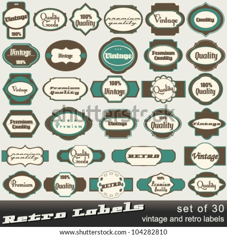 Vector large set of 30 vintage premium and high quality labels