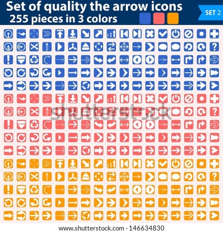 Vector large set of white icons pointing in three colors.  EPS10. easy to edit and change colors - stock vector