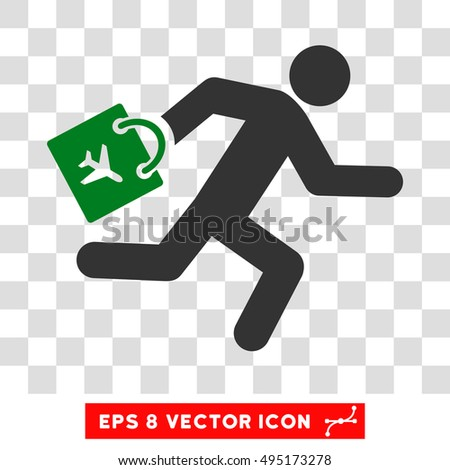 Vector Late Airport Passenger EPS vector icon. Illustration style is flat iconic bicolor green and gray symbol on a transparent background.