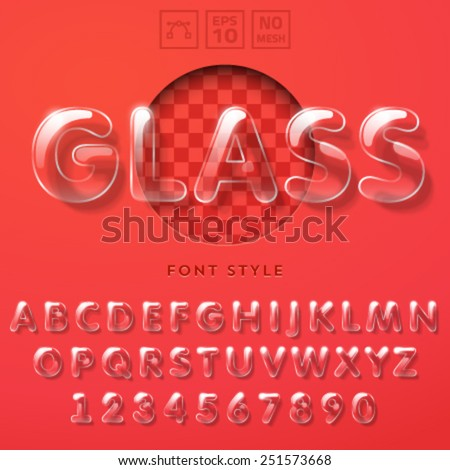 Vector latin alphabet made of glass tubes. - stock vector
