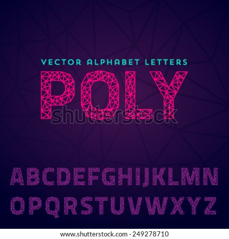 Vector latin alphabet made of polygonal letters - stock vector