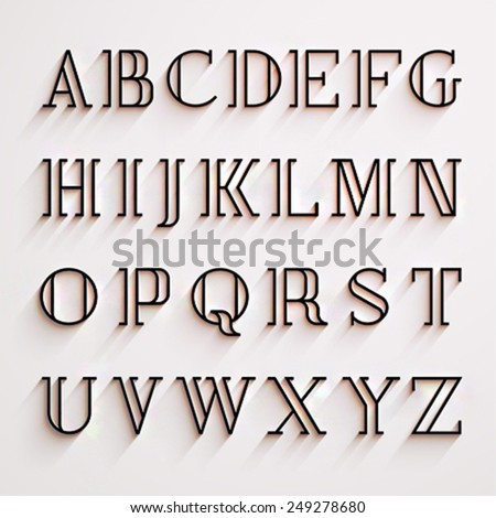 Vector latin alphabet with shadow effect - stock vector