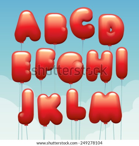 Vector latin numbers made of flying balloons. Letters from A to M - stock vector