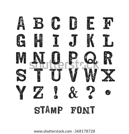 Vector latin stamp  font. Vector stamp  font with grunge texture. Vector isolated grunge stamp font on white background. Modern print letters with stamp texture. Grunge stamp font. - stock vector