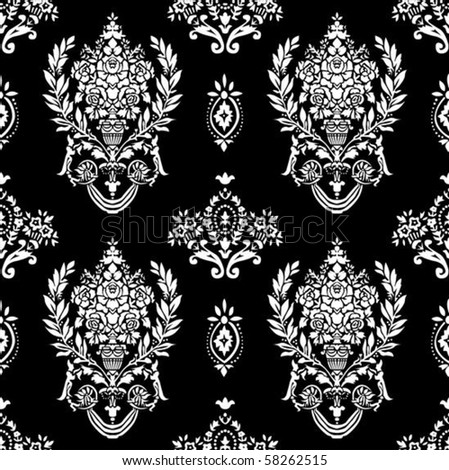 Vector laurel wreath pattern. Seamless tile included. Easy to change colors. - stock vector