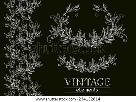 Vector laurel wreath. Vector set of ornate  elements on black background at engraving style.  - stock vector