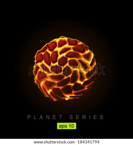 Vector lava planet - stock vector