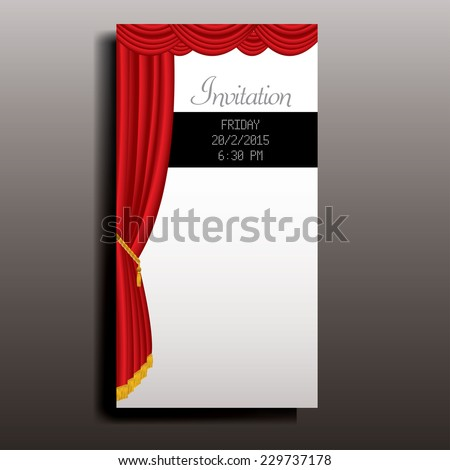 vector layout of invitation card with red stage curtain - stock vector
