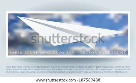 vector layout with paper plane on the cloudy sky  - stock vector