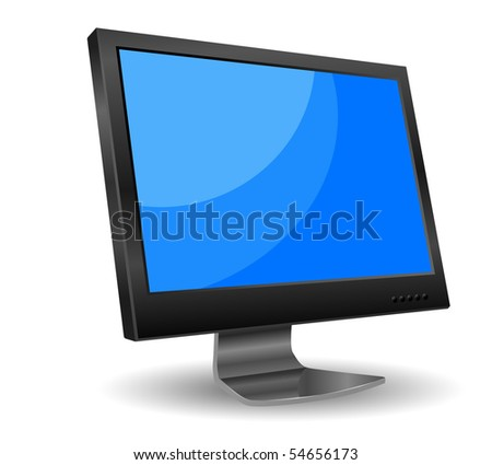 vector lcd computer monitor with blue screen - stock vector
