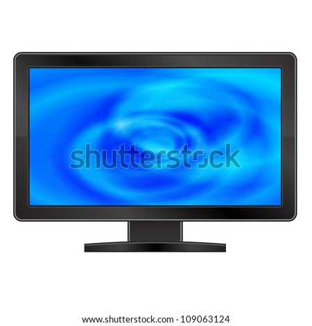 Vector LCD monitor with abstract blue screen
