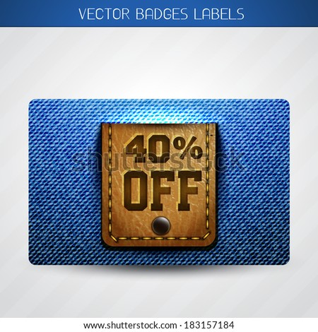 vector leather and jeans offer label  - stock vector