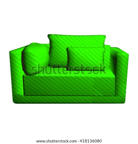 Vector leather green Sofa with pillows isolated on white background. 3d object armchair in room  - stock vector