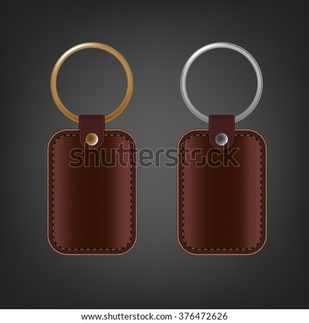 vector leather keychain template stock vector royalty free