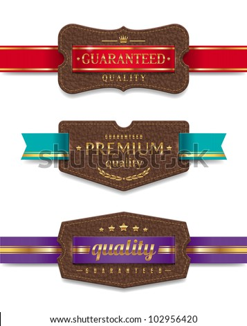 Vector leather quality labels with ribbon - stock vector
