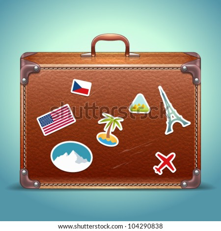 Vector Leather Suitcase with Travel Sticker - stock vector