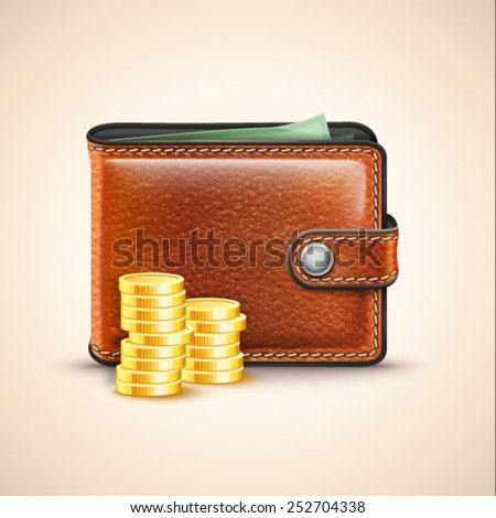 Vector Leather Wallet with Coins - stock vector