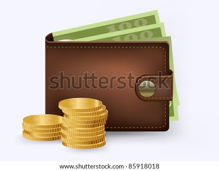 Vector leather wallet with money and coins inside - stock vector