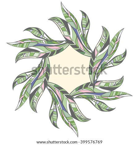 Vector leaves frame border cover design stock vector 399576769 vector leaves frame border cover design save the date banner for text stopboris Images