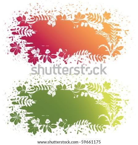 vector leaves grunge banner - stock vector