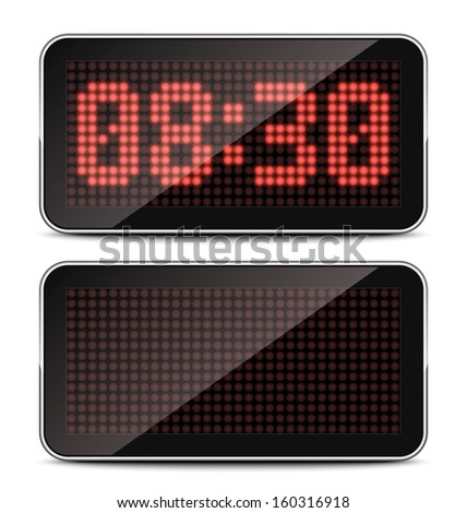 Vector LED Clock on white background - stock vector