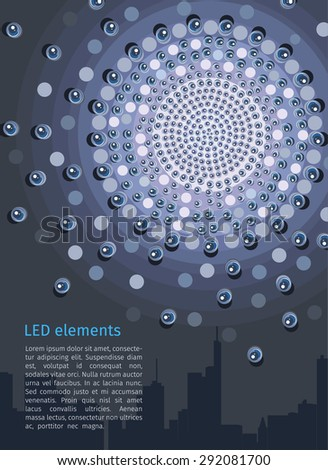 Vector LED elements, poster with the silhouette of the city, led advertising. - stock vector