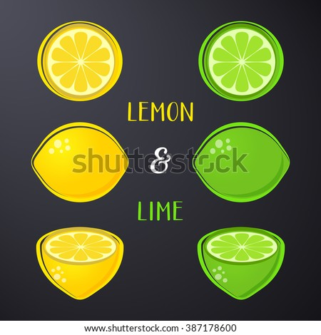 Vector lemon and lime illustrations isolated on black - stock vector