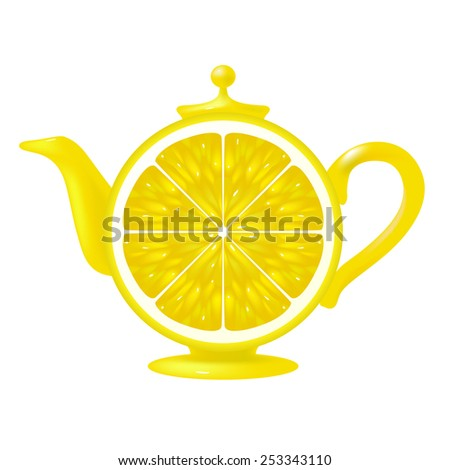 Vector Lemon Slice Teapot - stock vector