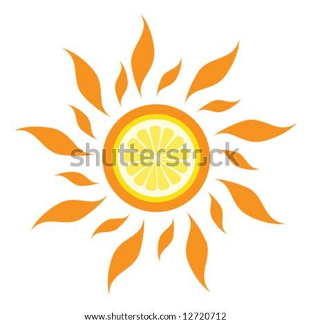 vector lemon sun - stock vector