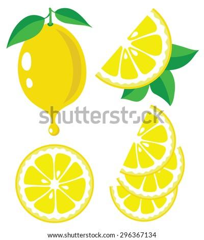Vector lemons. Lemon fruit slices and drop of lemon juice, vector illustrations - stock vector