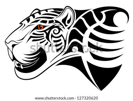Vector leopard, tribal tattoo - stock vector