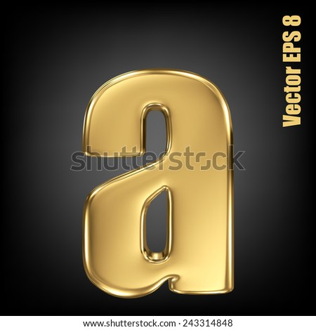 Vector letter a from gold solid alphabet. Lovercase golden font collection. EPS 8 - stock vector