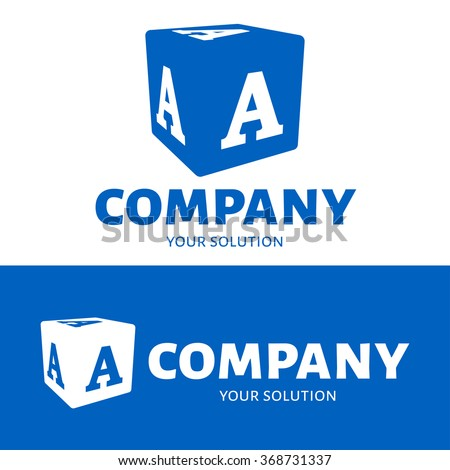 Vector letter A logo. The cube with the letter A brand logo