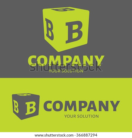 Vector letter B logo. Grey and green versions of the logo B. - stock vector