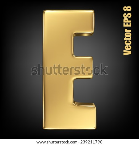 Vector letter E from gold solid alphabet. Uppercase golden font collection. EPS 8 - stock vector
